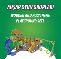 WOODEN AND POLYTHENE PLAYGROUND SETS